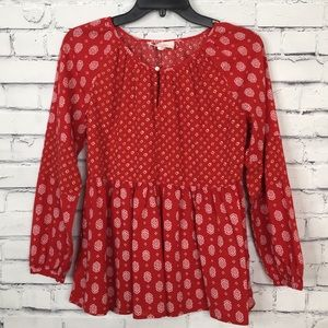 Two Vince Camuto Pattern Blouse Top Red